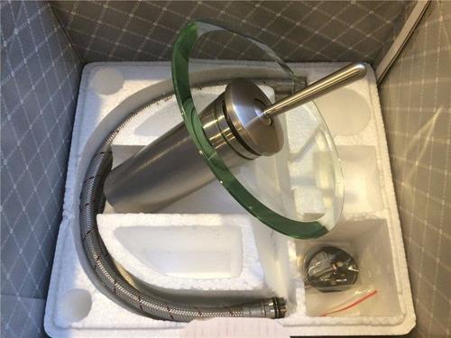 grifería monocomando cascada para vanitory vidrio y cromado