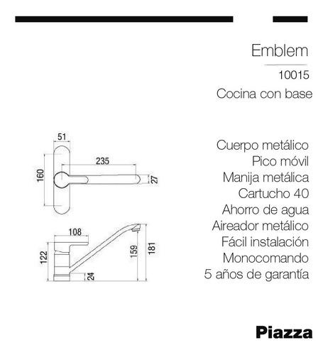 griferia monocomando cocina c/base piazza modelo yvon 10015