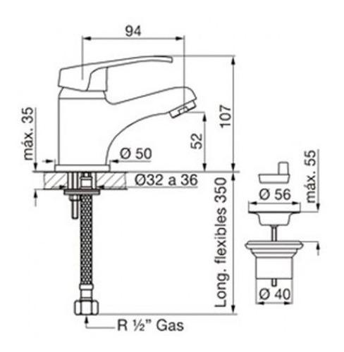griferia para baño lavatorio fv arizona 0181/b1 monocomando