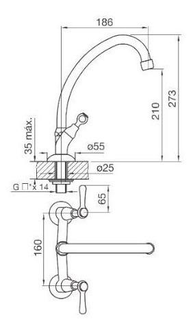 griferia para cocina c/ pico movil fv margot lever 416/62
