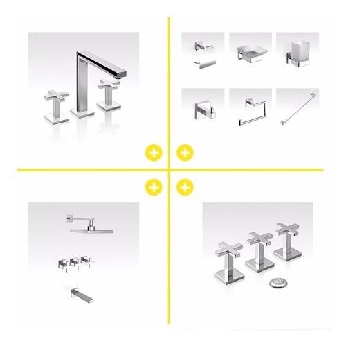 grifería piazza unique cruz baño + accesorios cuadrado
