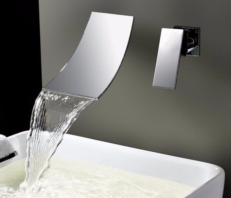 Grifo cascada mezcladora para tina o ba o monomando pared for Grifo pared