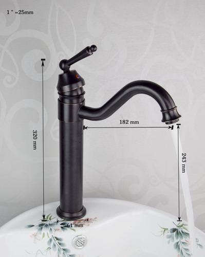 grifo llave baño mezcladora acabado antiguo aceitado negro