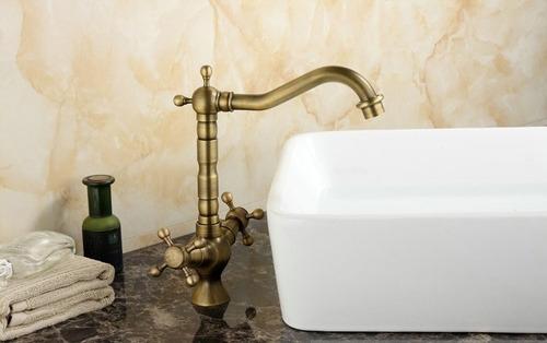 grifo llave baño o cocina mezcladora acabado antiguo