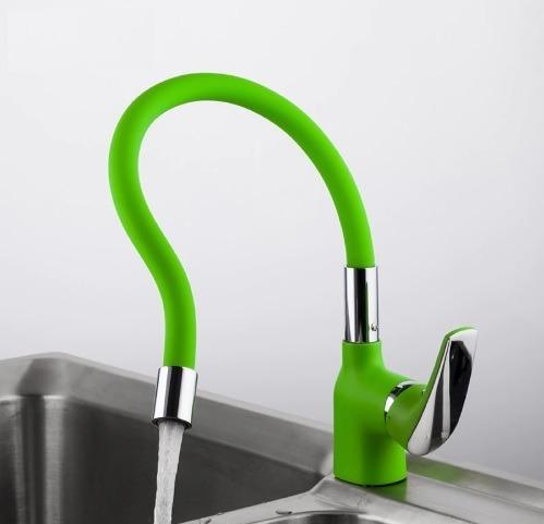 grifo llave mezcladora cocina flexible cromado verde