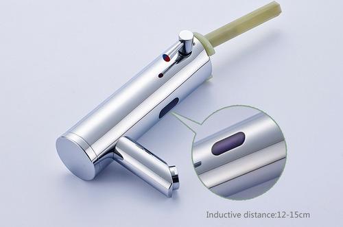 grifo mezclador automatico sensor cuello recto inclinado