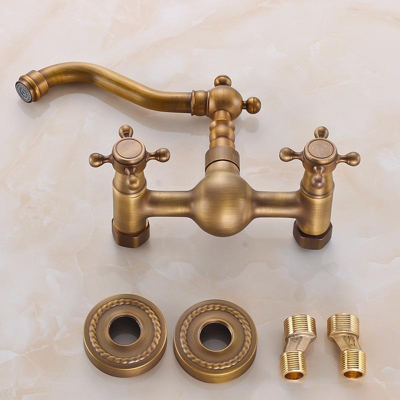 Grifo mezclador de pared acabado bronce antiguo entrega8 for Grifos de cocina de pared antiguos