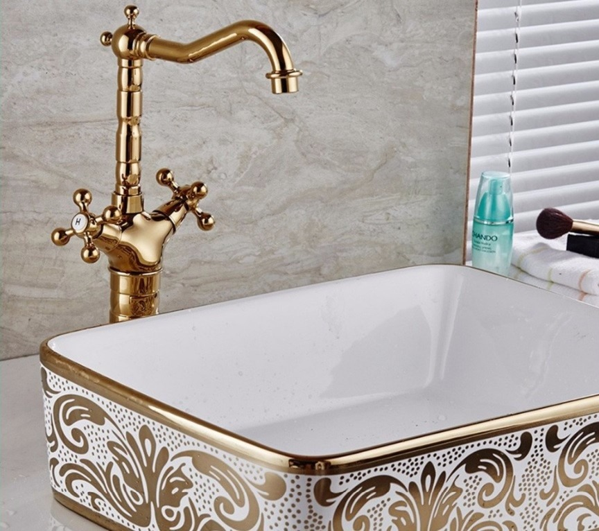 Grifo mezcladora monomando lavamanos alta oro dorado pulido 1 en mercado libre - Grifos para lavamanos ...