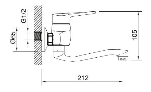 grifo monocomando cocina pared pico bajo 20cm gc línea golf