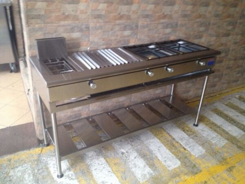 grill, 2 quemadores industriales, freidora