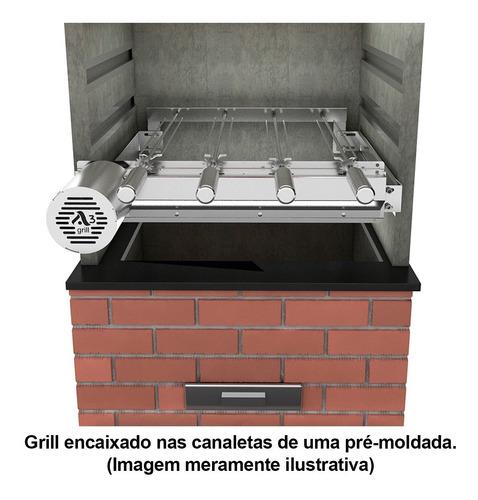 grill gira inox ajustavel p prémoldadas 4 espetos giratórios