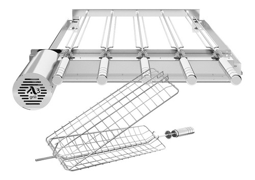 grill gira inox ajustavel p/ prémoldadas 5 espetos + grelha