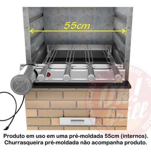 grill giratório inox 4 espetos p/ bancadas ou pré-moldadas