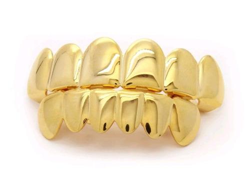 grillz cor ouro 6 dentes cima e baixo completo hip-hop
