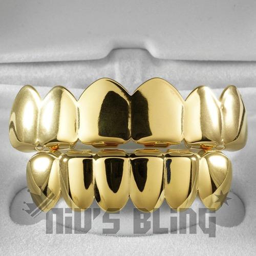 grillz cor ouro 6 dentes cima e baixo completo hip hop