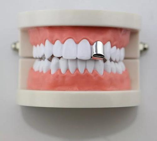 grillz unico dente top dente cor prata ouro rap hip hop
