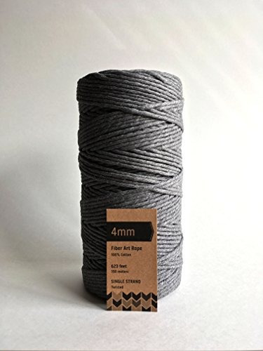 gris cable macramé cable arte fibra algodón solo hebra 4 mm