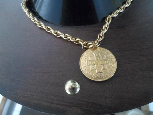 grosso cordão de ouro 18k com medalhão de são bento