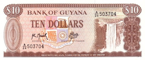 grr-billete de guyana 10 dollars 1992