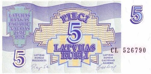 grr-billete de letonia 5 rubli 1992