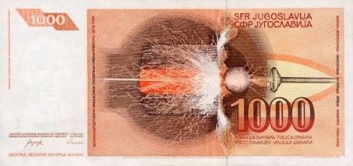 grr-billete de yugoslavia 1000 dinara 1990 - nikola tesla