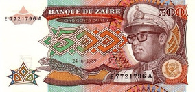De Grr Zaïres Mobutu Zaïre 1989 Billete 500 Sese Seko 1FTlKJc