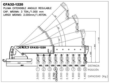 grúa extensible de carga autoelevador (angulo fijo)