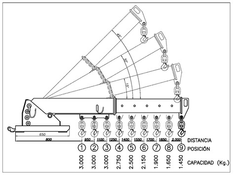 grúa percha extensible de carga p/autoelevadores (4 cheques)