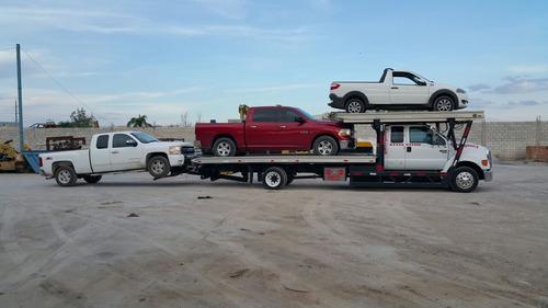 grúa plataforma charola rampa ford f650 jerdan 3 vehículos