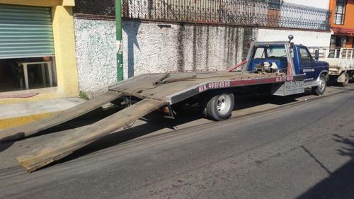 grúa plataforma para 2 vehículos ford 1985, rampas metalicas