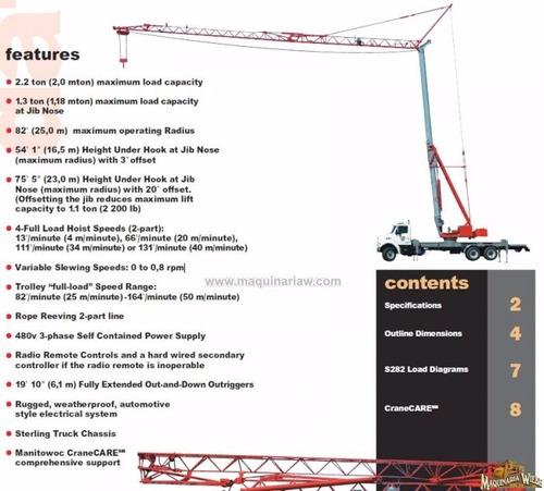 grúa torre manitowoc sobre camión sterling 15 metros 10983