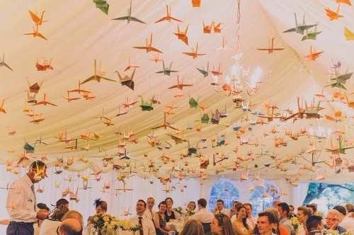 grullas origami decoracion eventos
