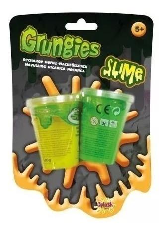 grungies slime 2 potes de 100 gr verde y amarilla pegajoso