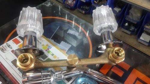 grupo ducha doble manilla acrílica cuerpo bronce/regadera