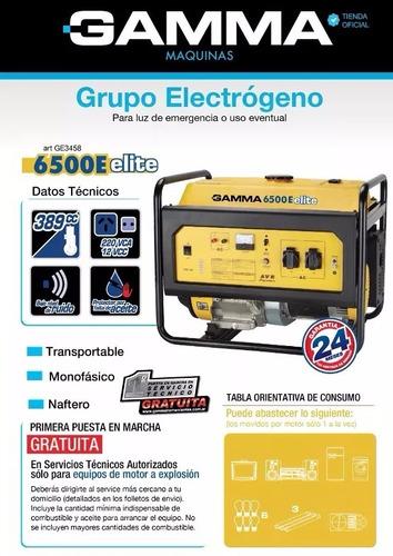 grupo electrogeno elite 6500e 13hp 6000w monofasico gamma