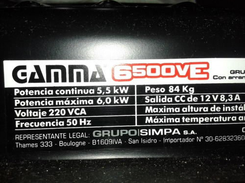 grupo electrógeno gama 6500 ve