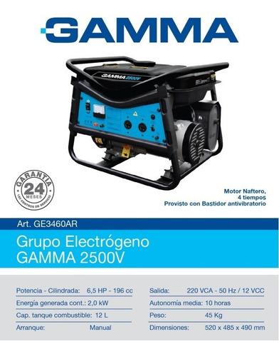 grupo electrogeno gamma 2500v generador 6,5hp naftero ge3460