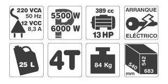 grupo electrogeno gamma 6500ve 6000w 13hp selectogar