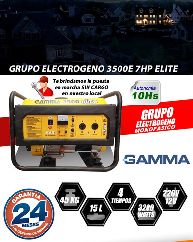 grupo electrogeno generador 3500 elite 3200w 7hp avr gamma