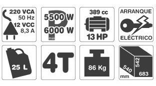 grupo electrogeno generador gamma ge3458 13hp 12v 389cc 6kw