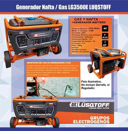 grupo electrogeno generador gas nafta 4 kva 7hp a/electrico