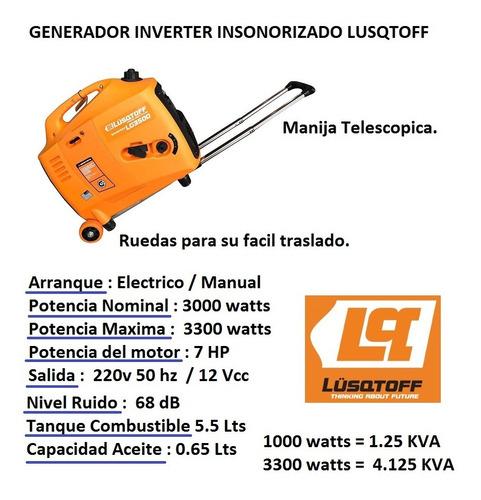 grupo electrogeno generador inverter 4kva ruedas lusqtoff