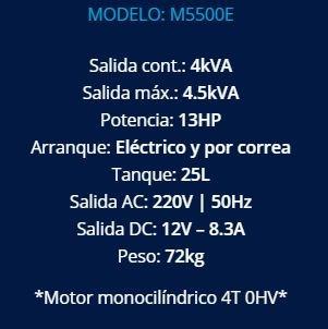 grupo electrogeno motomel 13 hp 4,5 kva arranque eléctrico