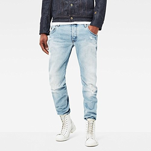 gstar raw mens arc 3d slimfit jean in wisk denim light aged
