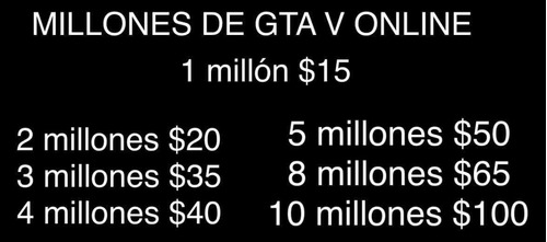 gta v online venta de millones (duración entre 20 a 30 min)