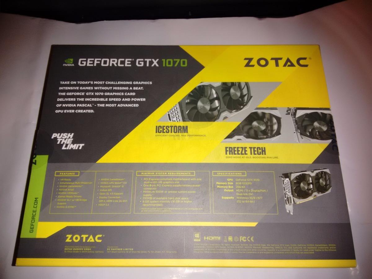 Gtx1070 Gtx 1070 Tarjeta De Video Zotac 8gb Gddr5