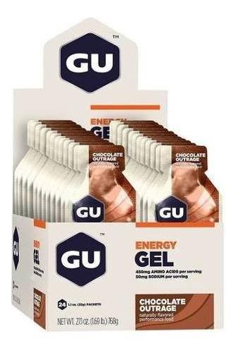 gu energy gel carboidrato chocolate caixa c/ 24 saches