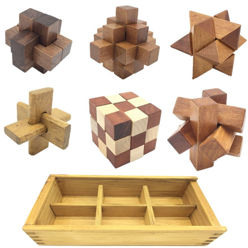 guaishou 6-en-uno 3d lujo de madera cerebro teaser puzzle