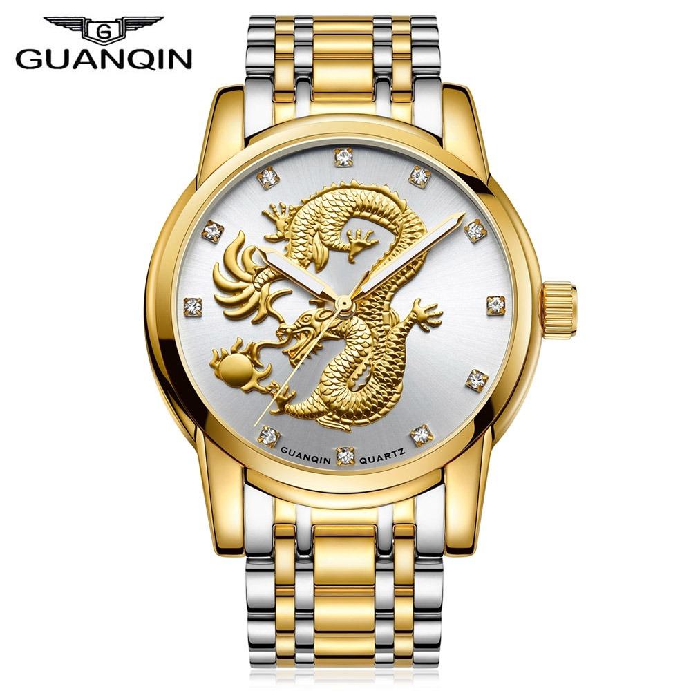 Gs19069 Reloj Hombres Patrón Guanqin De Cuarzo Marcar Dragón 5jq43RLA