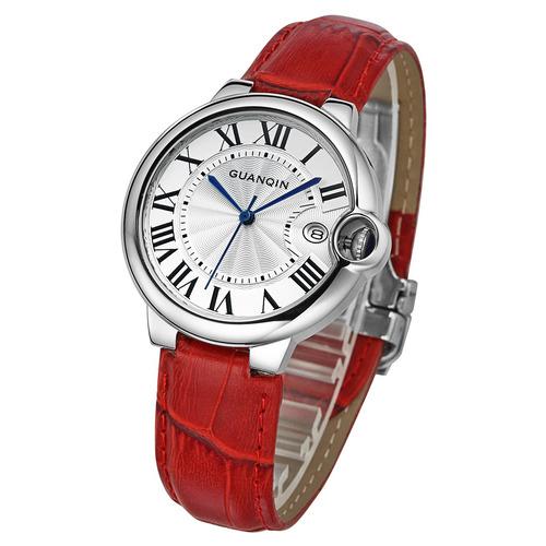 guanqin reloj cuero genuino deporte mujer relojes